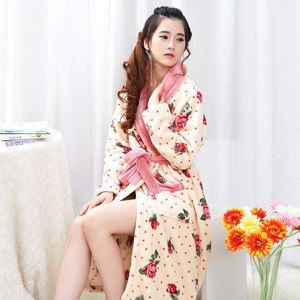 粉紅玫瑰精品屋~法蘭絨玫瑰花色加厚睡袍長款浴袍~