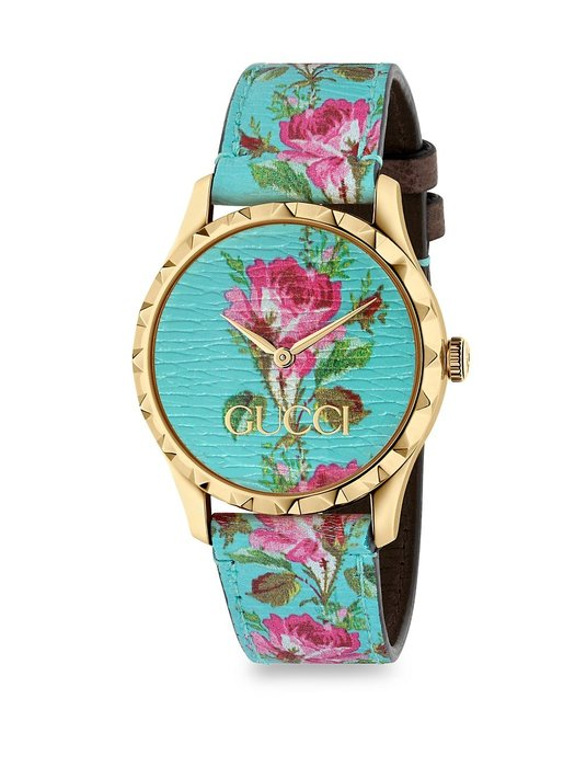 Coco小舖Gucci G-Timeless Floral Leather Strap Watch土耳其藍色花卉皮革手錶