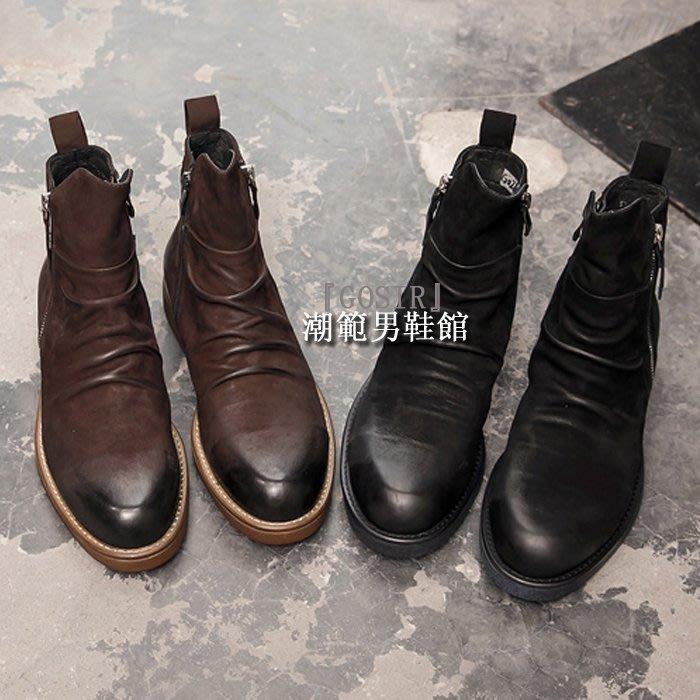 『潮范』 WS10 復古潮靴馬丁靴真皮尖頭皮靴牛仔靴短靴戶外靴騎士靴GS2162