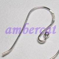 琥珀貓~【925純銀材料配件】耳勾~扁魚圓球耳勾~一對