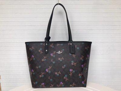 【小怡代購】 全新COACH 31389 正品代購新款櫻桃 雙面可用托特包 子母包 女士購物袋 超低直購