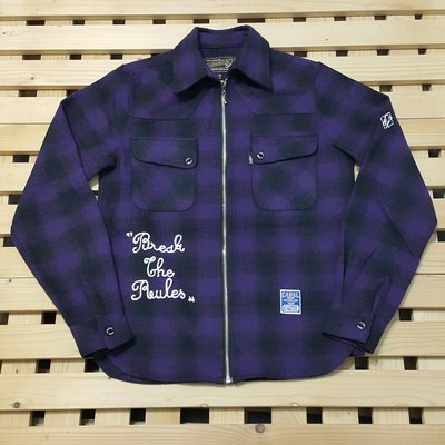潮牌 CABAL 毛質感紫黑格紋襯衫式拉鍊外套 軍裝 S 便宜出清