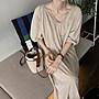 短袖休閒洋裝 極簡風寬鬆顯瘦五分泡泡袖連身裙 艾爾莎【TAE8290】