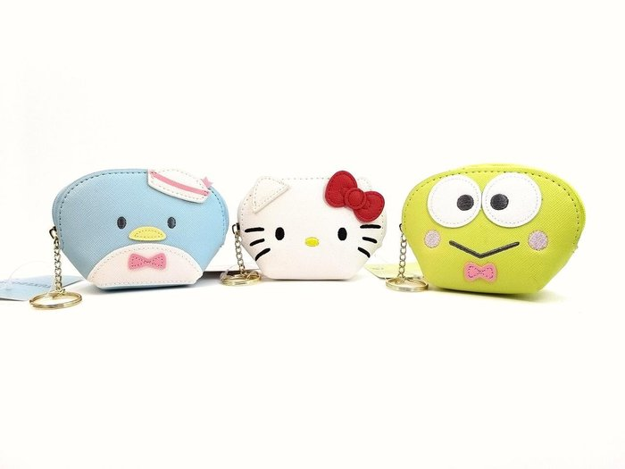 日本三麗鷗商品Hello Kitty 大眼蛙 企鵝 皮革零錢包鑰匙圈