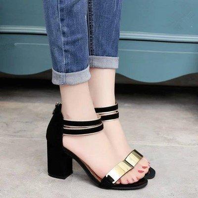 日和生活館 涼鞋女韓版鞋子學生夏天魚嘴粗跟高跟涼鞋S686