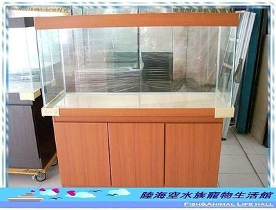 ◎陸海空水族寵物生活館◎ 4尺缸/四尺魚缸 (魚缸+櫃子) 三門密集板 長120X寬45X高60 cm 5mm 整組