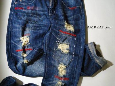 【AMBRAI.com】MANIA Stains Damage Denim 經典-紅縫線 赤耳貓鬚 水洗 破壞 單寧牛王