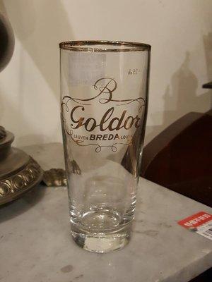 【卡卡頌 歐洲跳蚤市場/歐洲古董 】歐洲老件_金色文字標誌  金邊 啤酒玻璃杯 歐洲老啤酒杯 g0345
