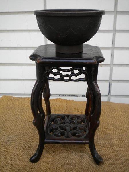 **黑熊古玩藝品**罕見日本古董鐵碗+古董木架