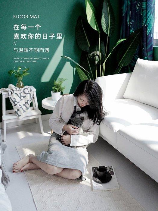 入戶棉線白色地墊純色手工編織臥室床邊長方形榻榻米墊可機洗腳墊  衣品居  YPJ
