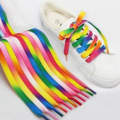 帆布鞋小白鞋彩色漸變色七彩彩虹鞋帶男潮流個性鞋帶女韓版百搭