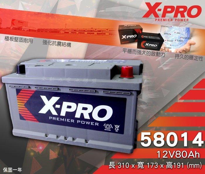 全動力-XPRO 歐規款型 免加水 進口電池 58014 (12V80Ah) 汽車電瓶 福特 賓士 寶馬 奧迪 福斯