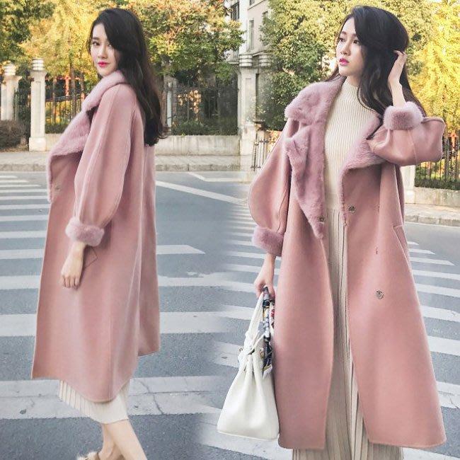 外套 氣質輕熟女貴婦款西裝領大翻毛領粉嫩加厚高品質毛呢大衣 艾爾莎【TAE8132】