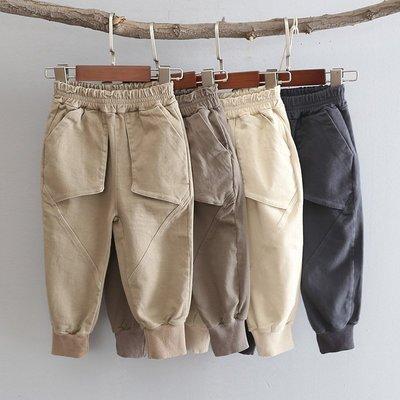 寶貝之家 【長褲4色】新款 男童90~130cm寬鬆微彈口袋拼接休閒長褲 鬆緊腰圍縮口長褲