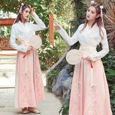春夏民族風傳統古裝漢服日常交領襦裙齊腰毛巾繡刺繡兩件套連衣