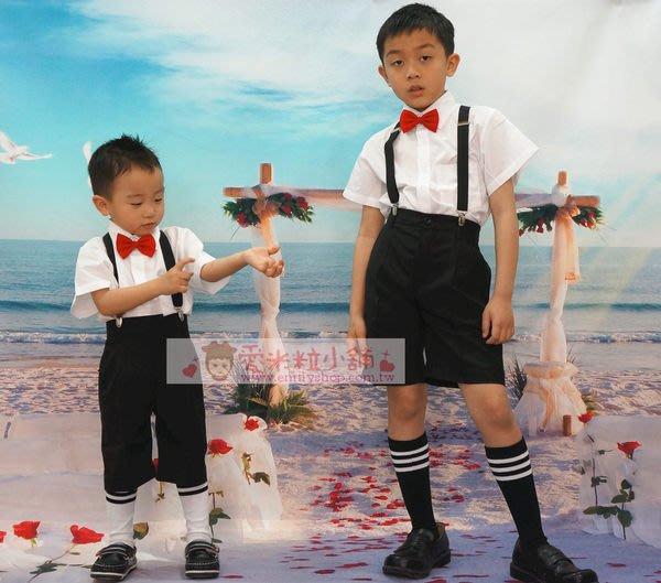 兒童西裝 男童短袖襯衫 西裝短褲 吊帶 襪子 紅領結 黑領結 ☆愛米粒☆ B08超值6件組