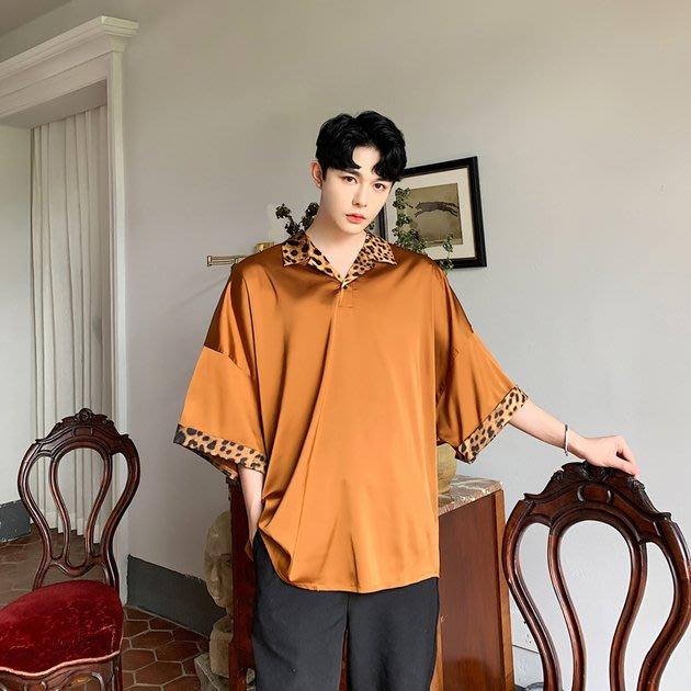 FINDSENSE品牌 訂製 G6 韓系男裝 潮流時尚豹紋拼接七分袖正韓短袖男白襯衫五分袖潮牌洋裝簡約寬鬆