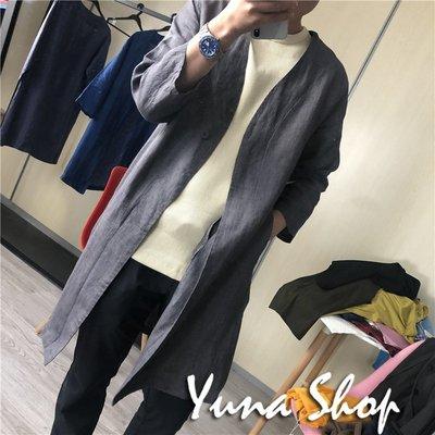 ☆YUNA SHOP☆秋季新款情侶款亞麻極簡舒適透氣風衣外套/三色☆特價 兩件免運