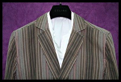 【JAEGER】灰底白灰黑紅條紋牛角扣排小劍領外套