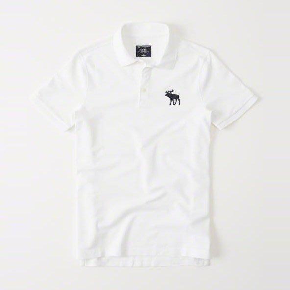 美國百分百【全新真品】Abercrombie & Fitch Polo衫 AF 短袖 麋鹿 男 素面 白色 I359