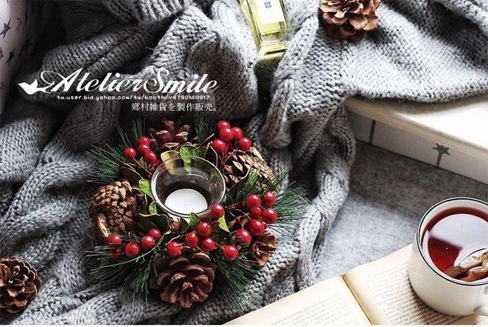 [ Atelier Smile ] 鄉村雜貨 日本直送 森林系 松果 松針樹枝 花環美式燭台 直徑16公分#聖誕裝飾