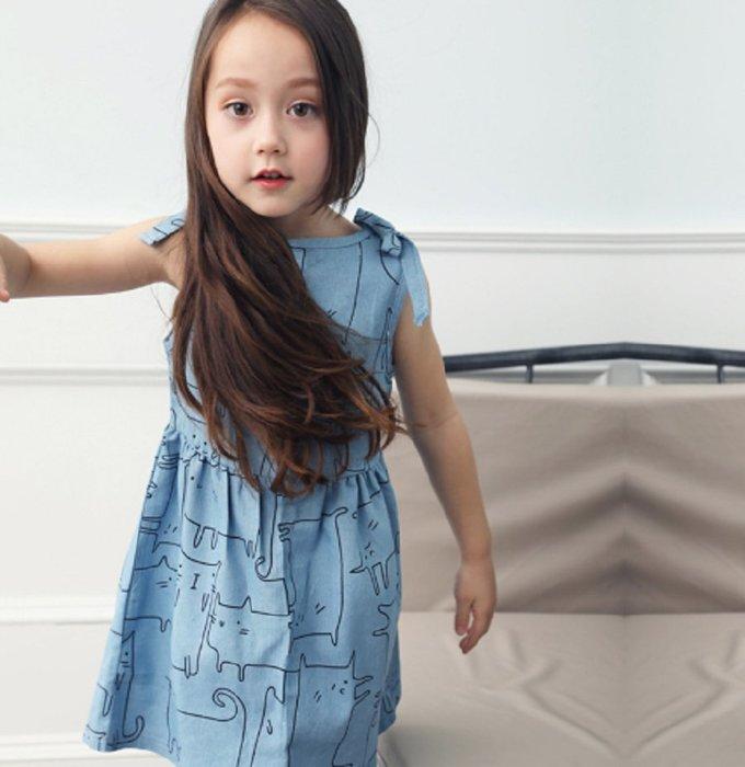 現貨~牛仔連衣裙女童童裝歐美卡通印花無袖蝴蝶結純棉背心兒童公主裙子