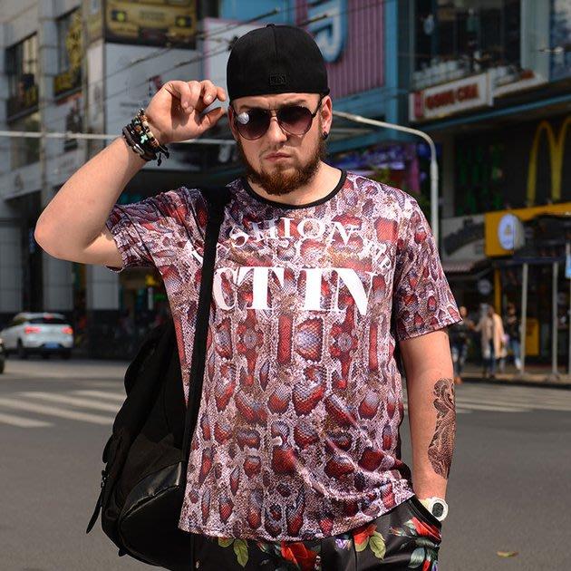 FINDSENSE品牌監製 大尺碼男裝 時尚潮流3D蛇紋短袖T恤薄款個性印花短袖夏季男大尺碼寬鬆透氣T恤速乾排汗T