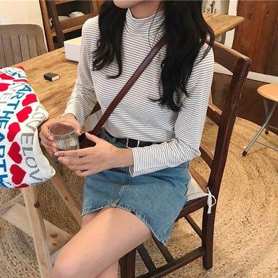 秋季2018新款女裝內搭打底衫長袖上衣高領條紋網紅同款寬松T恤潮
