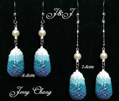 J&J精品~靜聽飄雪~SWAROVSKI水晶珍珠立體珠寶編織包墬華麗耳環