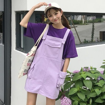 怪獸背帶裙中長款韓版小清新chic學院裙子學生女日系可愛