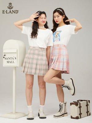 時尚  熱銷ELAND衣戀夏季新款時尚少女感高腰格紋JK百褶裙半身裙女士