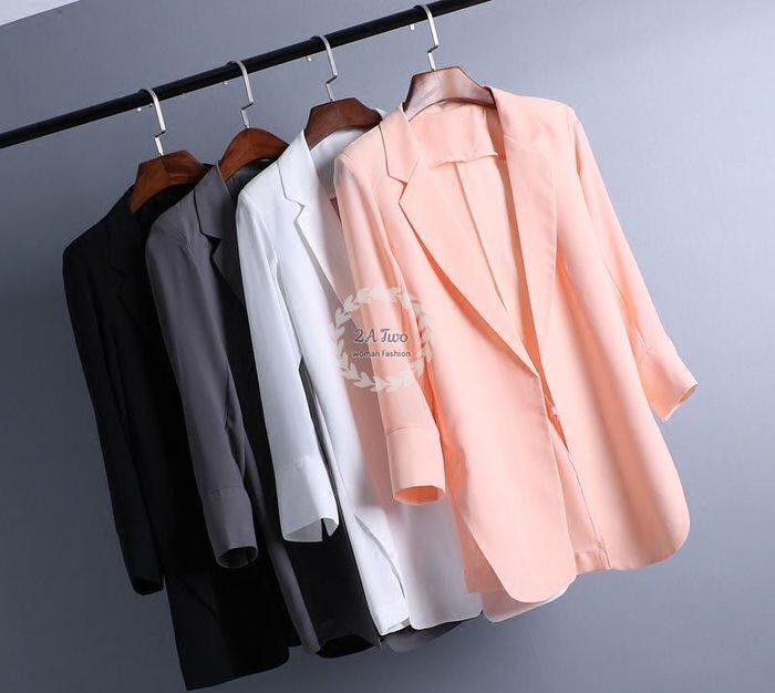 【2A Two】首爾🍄雪紡西裝⌒修身顯瘦雪紡寬鬆西裝外套『BA0429』