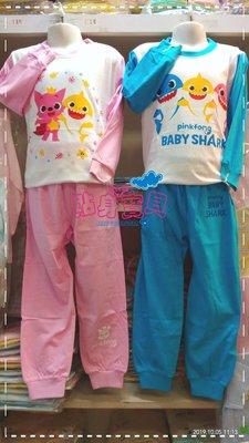【貼身寶貝】台灣製100%棉~新款~春秋必備~baby shark~鯊魚寶寶家居服冷氣衫套裝-(特價中)
