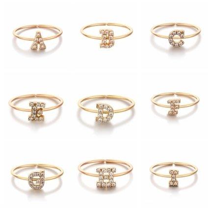 戒指女字母玫瑰金個性開口鍍金飾品食指指環簡約細