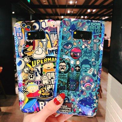 三星 Note9 藍光彩繪矽膠殼 Note8 手機保護套 三星 s8/s8plus 手機殼 三星 s9/s9+ 手機套潮