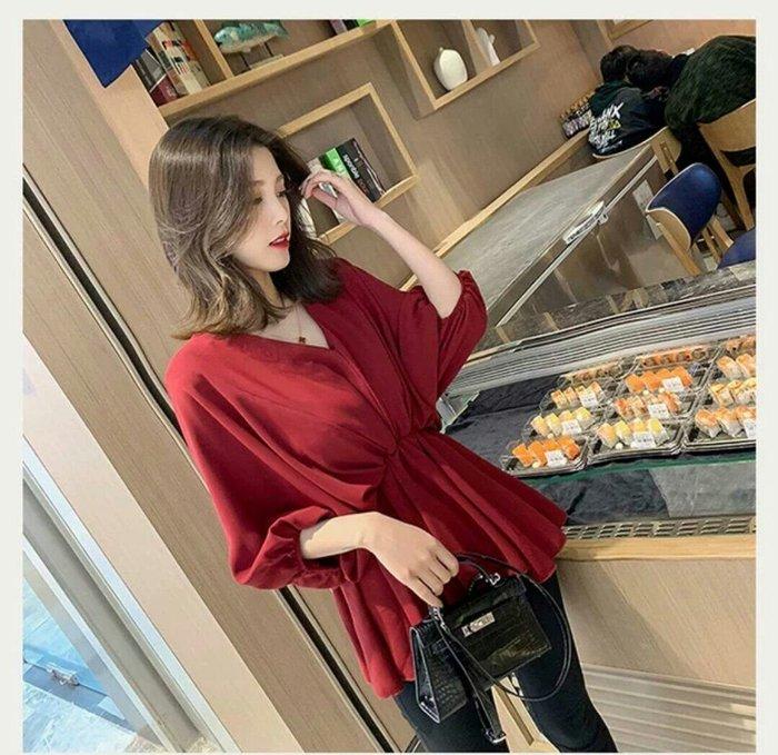 韓版 V領 雪紡 襯衫 法式 五分袖 舒適 上衣 棉花糖 收腰 仙氣 顯瘦 寬鬆 Me Gusta