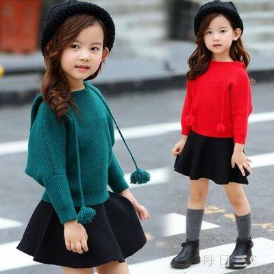 女童兩件套裙韓版女童秋裝女小女孩兒童秋毛衣裙子套裝 zm7998
