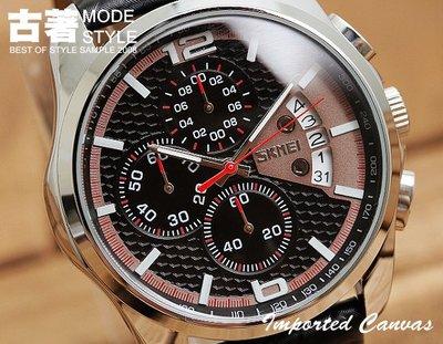 『古著Ancient 』【SS0044】運動雜誌款,三眼針碼錶計時/日期顯示/蜂窩立體面板/碳纖維造型錶帶/賽車造型腕表
