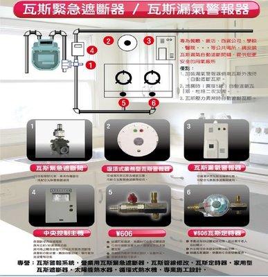 台中瓦斯遮斷器,營業用瓦斯緊急遮斷器, 天然瓦斯專用,家用瓦斯警報器架設特價9999元
