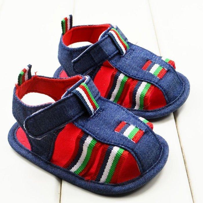 森林寶貝屋~藍色休閒包頭涼鞋~學步鞋~幼兒鞋~寶寶鞋~娃娃鞋~學走鞋~童鞋~粘扣設計~穿脫方便~彌月送贈禮
