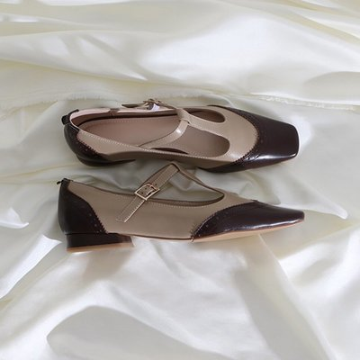 墨染·蓮花府邸2121秋季新款單鞋拼色雕花復古女鞋子休閒方頭低跟鞋真皮