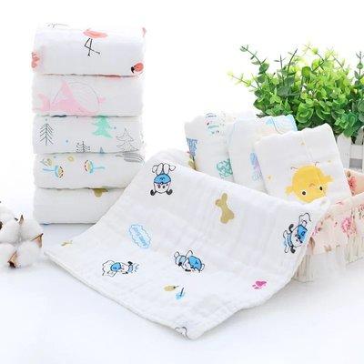 【現貨】純棉童巾純棉提花 六層紗布兒童毛巾 嬰兒洗臉毛巾 (長*寬cm): 25*50cm