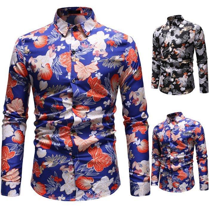 『潮范』  N4 新款外貿時尚印花襯衫 拼接襯衫 翻領男士長袖襯衫 圖案襯衫 襯衣NRG274