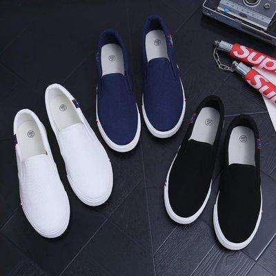 老北京布鞋休閒夏季男士工作帆布鞋學生韓版一腳蹬懶人豆豆潮鞋 全館免運