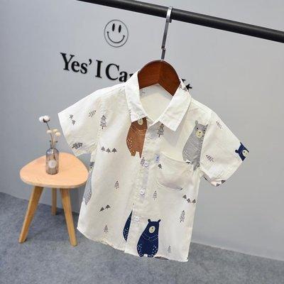 2019新款夏季兒童男童短袖花襯衫夏裝寶寶白色襯衣個性潮童韓版薄