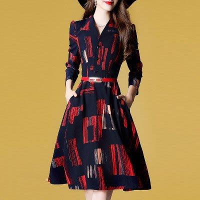 連身裙  歐系  V領系帶收腰印花連身洋裝*台北薇安*【W126518】aa