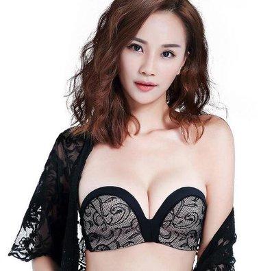 內衣 定制文胸無肩帶防滑聚攏薄款夏季抹胸內衣性感蕾絲隱形胸貼—莎芭