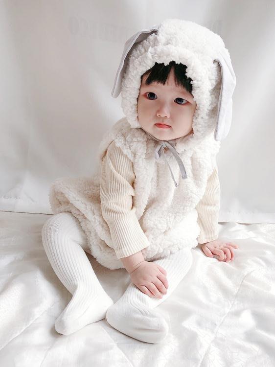 韓版童裝嬰兒可愛寶寶動物造型哈衣服小羊連體衣秋冬裝爬爬服 免運