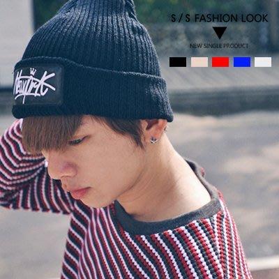 柒零年代【N9391J】電繡NEW YORK皇冠皮標羅紋針織毛帽notion