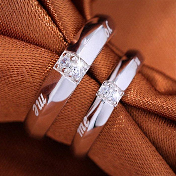 情侶戒指女日韓潮人簡約結婚對戒仿真鉆戒一對活口情人節禮物飾品對戒銀戒指 首飾尾戒結婚對戒